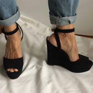 Colé Haan / Nike black suede super high wedges.